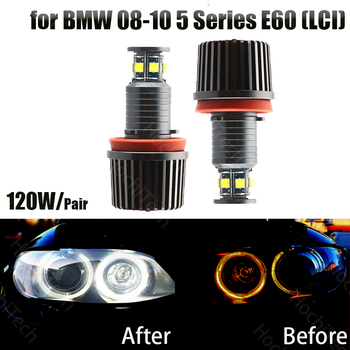 High power canbus 120W 6000K white Led angel eye halo ring led marker for BMW 2008-2010 5 Series E60 (LCI) super bright image