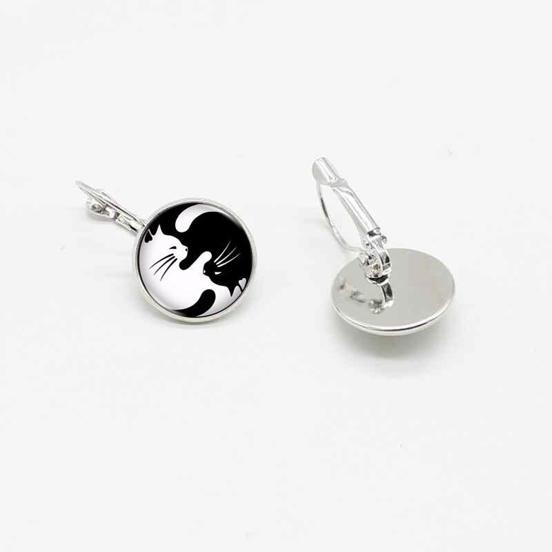 New cute black and white cat yin yang popular crystal glass ear hook earrings jewelry