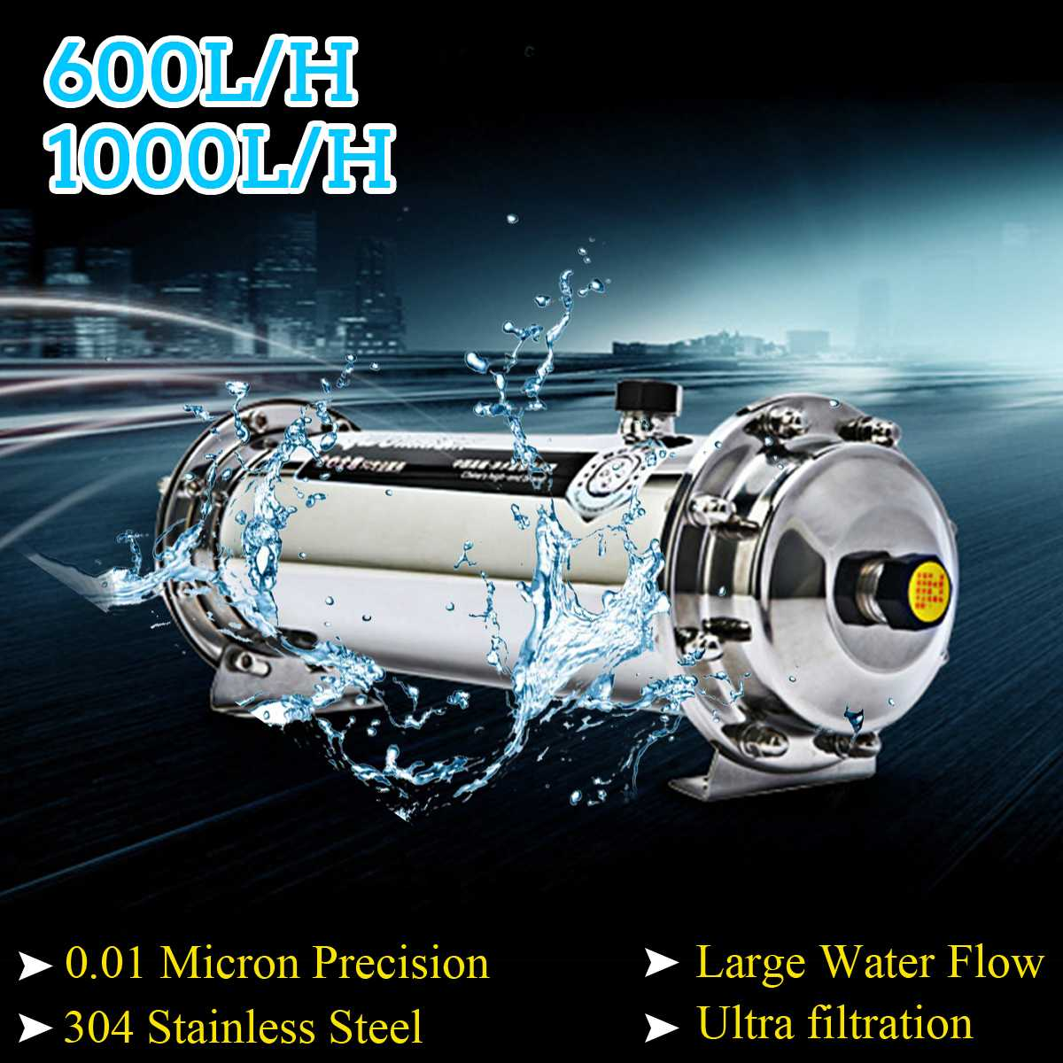600L/1000L 304 Stainless Steel Water Filter Ultrafiltration Water Purifier Commercial Home Kitchen Drink Straight UF Filters