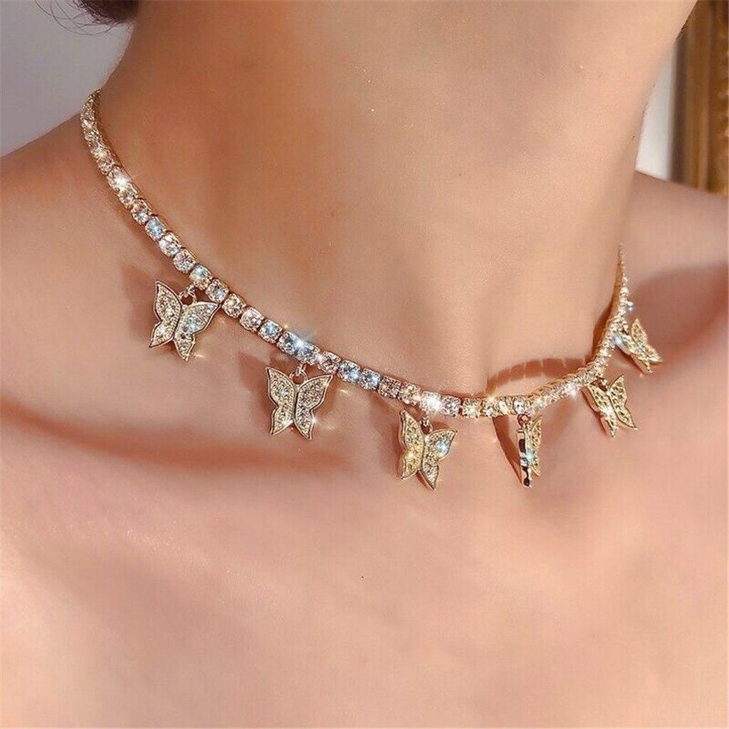 Маленький кулон в форме бабочки для женщин и девушек, золотая цепочка женские блестящие аксессуары, вечерние, ювелирное изделие, подарок