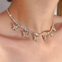 Pequena borboleta pingente colar para mulher menina colar de corrente de ouro feminino brilhando acessórios festa jóias presente