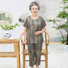 Elderly Women Summer Silk Top And Cropped Pant Sets 2 Pieces Trouser Suits Green Red Blue Blouse And Crop Pants Suit Set Mother