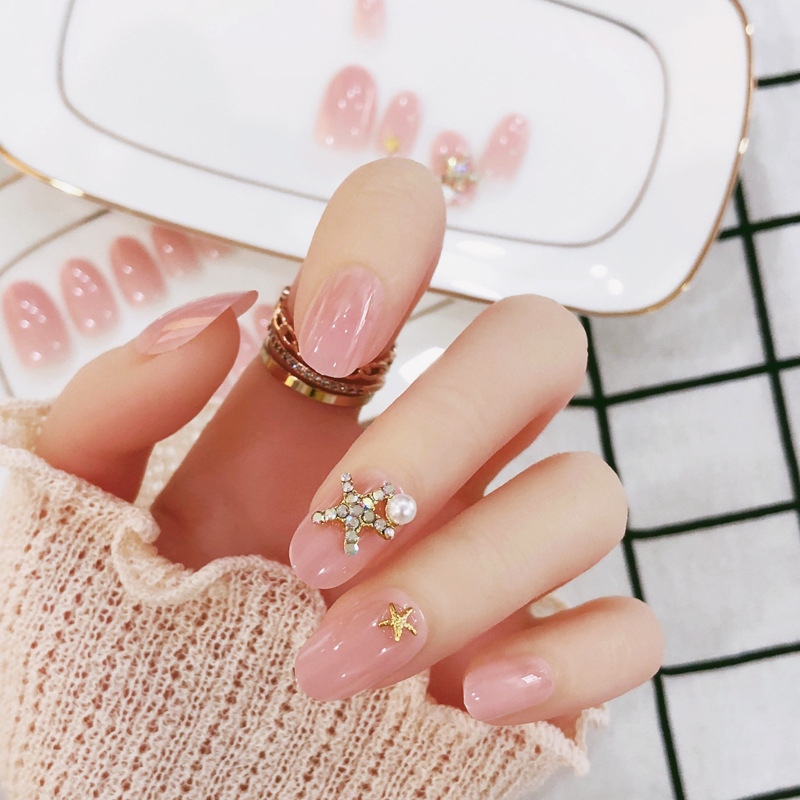 Fake Nails PCs Posted A Finished Product Nail Sticker Bride Marriage Wedding Photographs Model Stick Completely Seemless Adhesiv