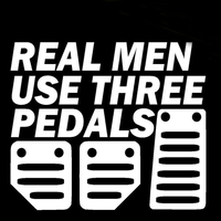 Real Men Use Three Pedals car stickers 6
