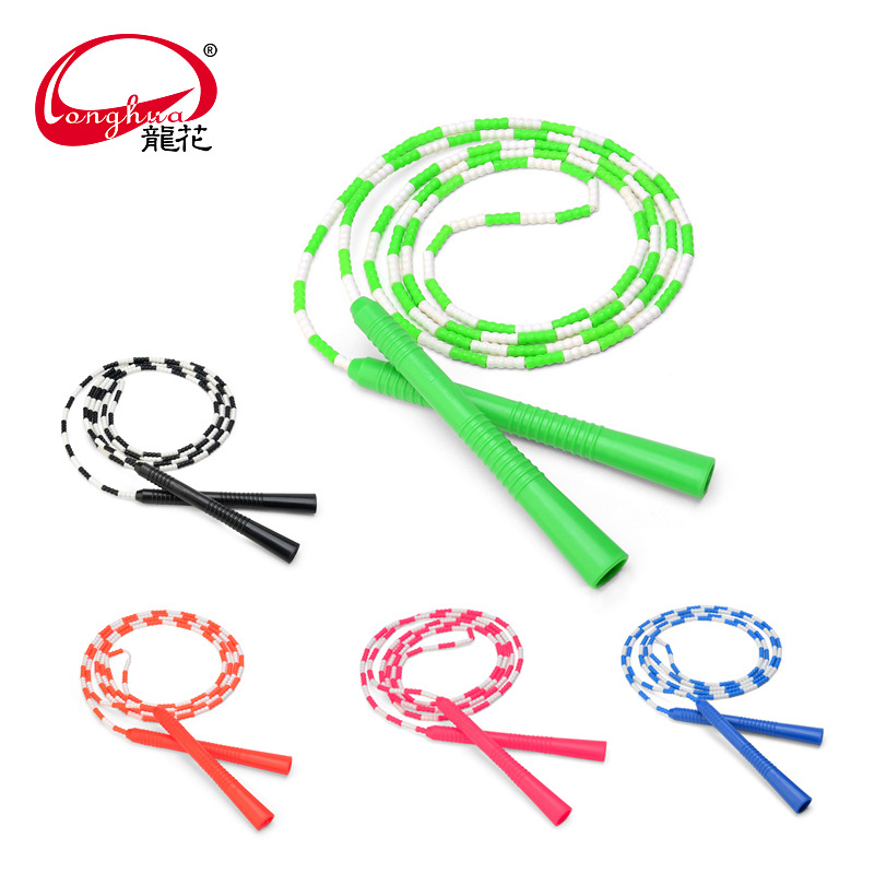 Manufacturers Direct Selling Long Hua Children Bamboo Joint Jump Rope LY-101D Beading Section Speed Athletic Jump Rope Soft Fine