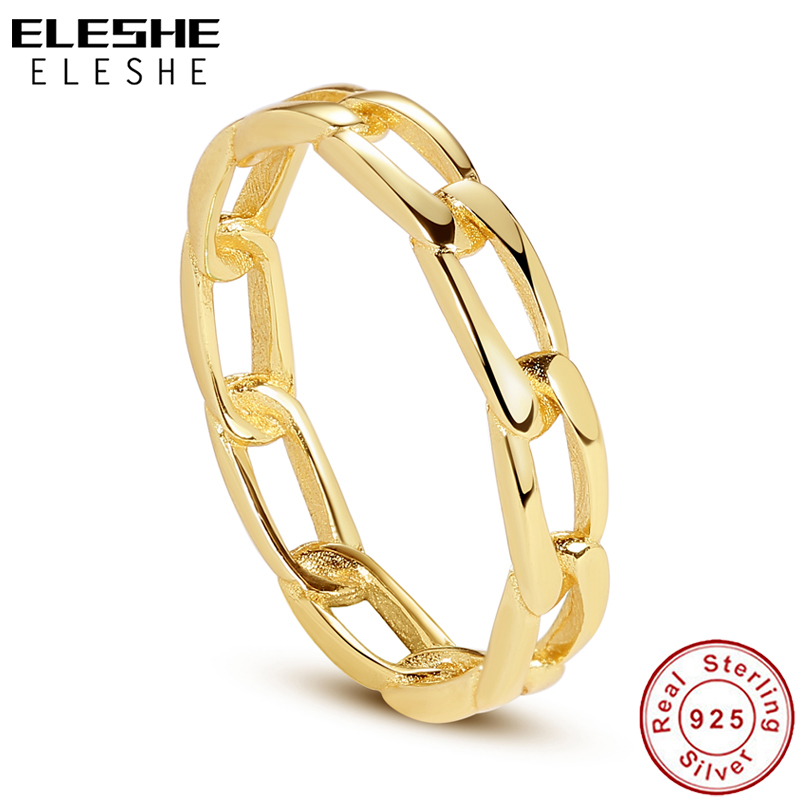 Eleshe puro 925 prata esterlina anéis finos com 18k banhado a ouro chunky chain simples anel para festa de casamento feminino jóias presente