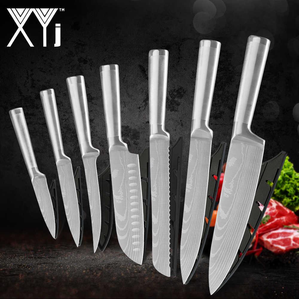 Xyj 7 pçs damasco padrão facas de cozinha conjunto profissional facas chef 7cr17 aço inoxidável faca presente cobre