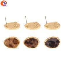 Diseño Cordial 50 piezas 14*19MM accesorios de joyería/hecho a mano/efecto de impresión de leopardo/forma Irregular /Fabricación de joyas DIY/pendientes de perno
