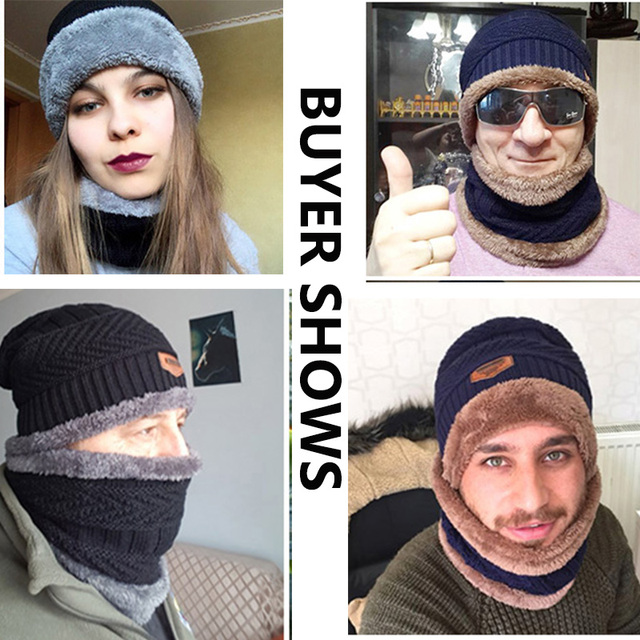 Men's winter Fashion Knitted Black Fall Hat 3