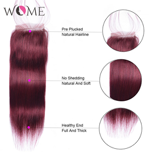 Image 5 - WOME Pre colored 99j Red Wine Burgundy Human Hair Bundles With 4x4 Lace Closure Malaysian Straight Hair Extension Non remy