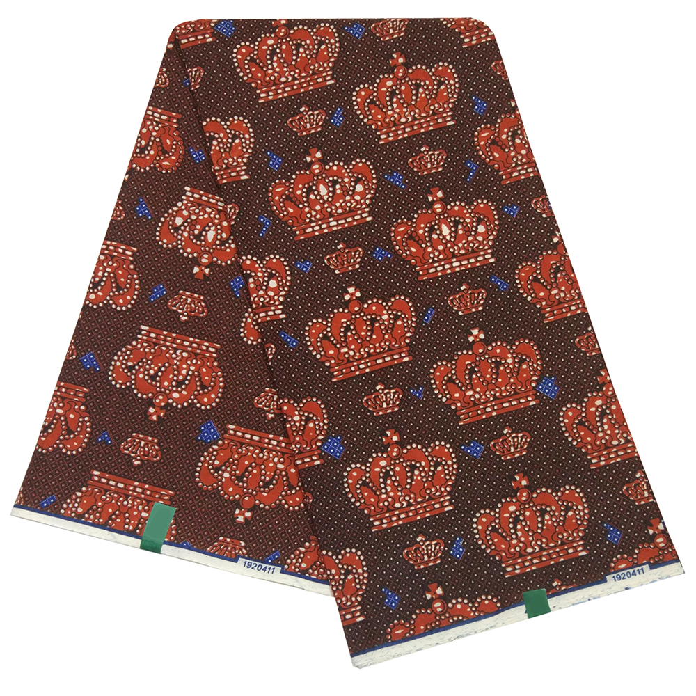 Newest Arrivals Royal Crown Pattern Printed Holland DIY Wax Fabric For Party Dress
