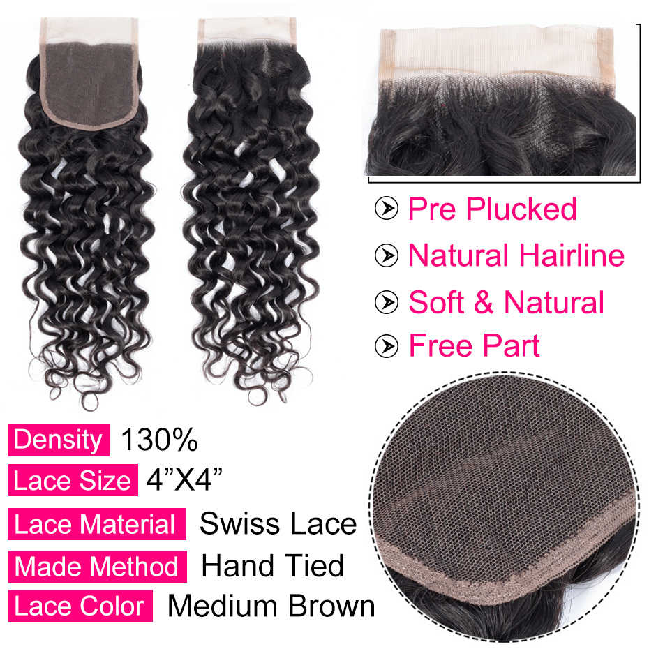 غابرييل البرازيلي شعر مموج بالماء إغلاق جزء الحرة اللون الطبيعي 4x4 السويسري الدانتيل ريمي الشعر البشري إغلاق 8-22 inch