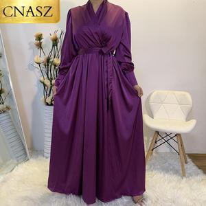 Hot Sale Elegant Muslim Women Clothing Middle East Dubai Fashion Maxi Long Satin Islam Dress 2020 New Beautiful Ladies Dress