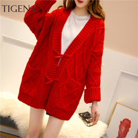 TIGENA Women Knitted Long Jacket 2019 Fall Winter Long Sleeve Sweater Cardigan Women Warm Yellow Red Cardigan Female with Pocket