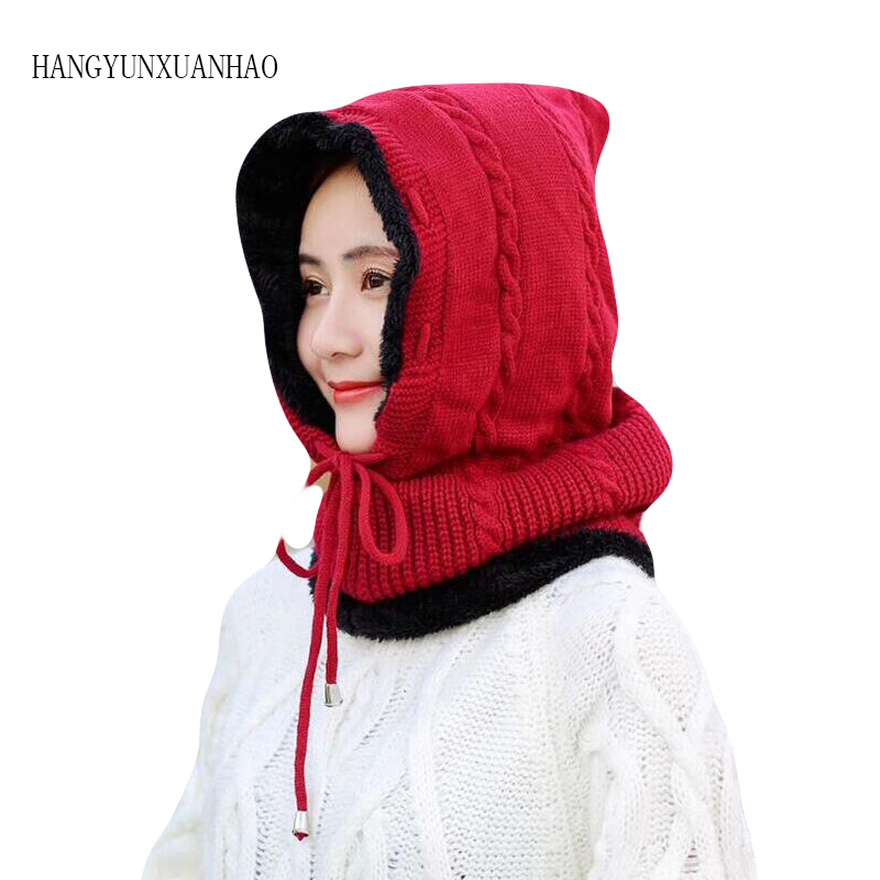 Skullies Beanies Women Winter Hat Knitted Beanie Girls Scarf Female Hats For Cap Mask 2019