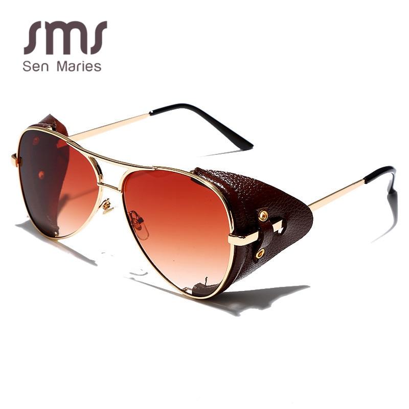 Gafas de Sol clásicas de piloto para hombre y mujer, lentes de Sol de estilo aviador de Metal a la moda con montura de cuero para conducir, 2019