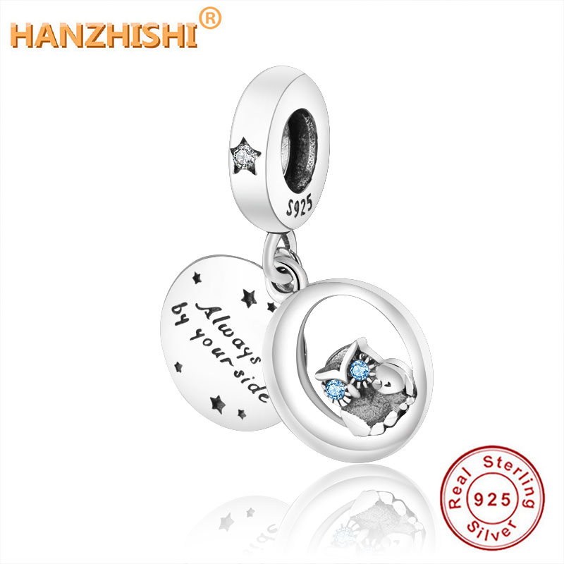 925 Sterling Silver Letters Always by Your Side Owl Dangle Charm Beads Fit Original European Charm Bracelet Necklace DIY Jewelry(China)