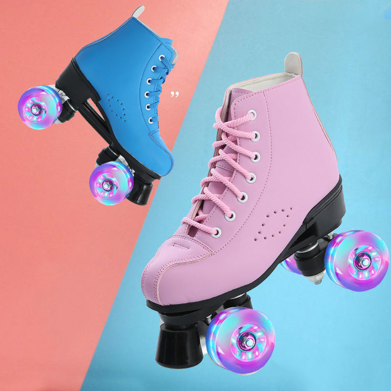 2020 New Microfiber Leather Roller Skates Man Woman Outdoor Skating Shoes 4-Wheel Patines Blue Pink 34-44 Europe Size