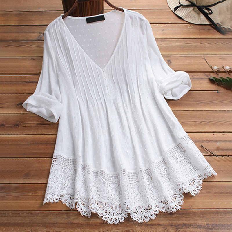 ผู้หญิงเสื้อเสื้อลูกไม้สีขาว V คอแขนยาว Tunics หญิง 2020 ฤดูร้อนฤดูใบไม้ผลิ Streetwear หลวมเสื้อ PLUS ขนาด 5XL