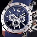 Роскошные брендовые новые мужские серебристые, черные, синие, с датой дня, из нержавеющей стали, японский кварцевый хронограф, сапфировое ст...
