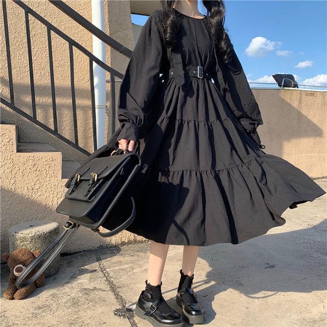 QWEEK Vintage Lolita Gothic Dress 2021 Japanese Harajuku Sweet Lolita Streetwear Women Dress Gothic Punk Long Sleeve Dress Women 3
