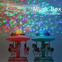 Bebé luminosa juguetes, luz estrellada noche caja de música con diseño de carrusel reproductor proyector lámpara de bebé niños LED dormir apaciguar luces regalos