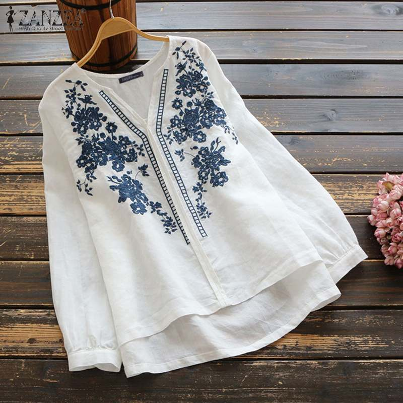 ZANZEA 2020 Vintage Embroidery Women Tops Blouses Fashion Office Lady Casual Loose V Neck Blusas Solid Long Sleeve Cotton Tunic