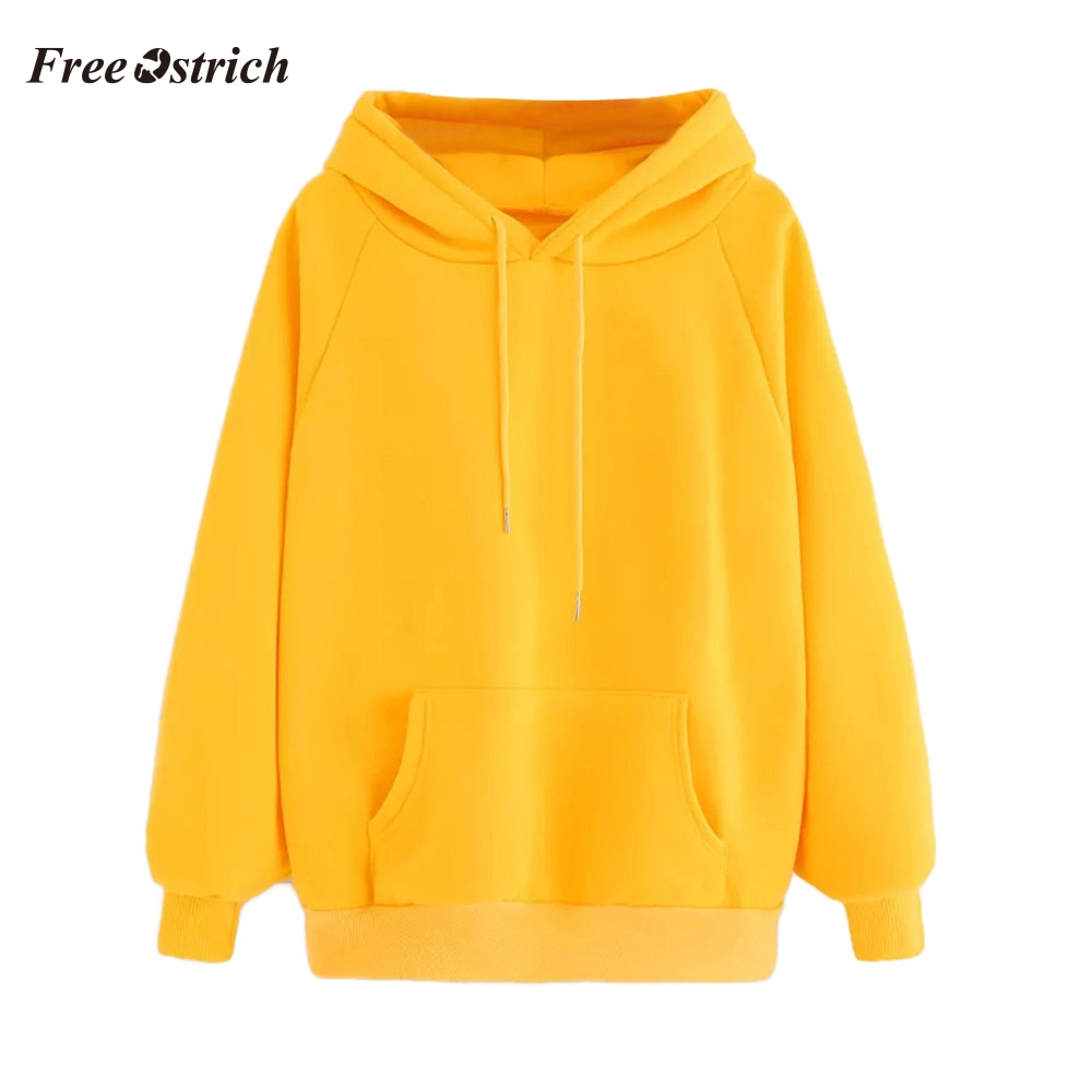 Free Ostrich Trendy Womens Long Sleeve Hoodie Sweatshirt Hooded Pullover Tops Blouse With Pocket Comfortable winter Soild Tops