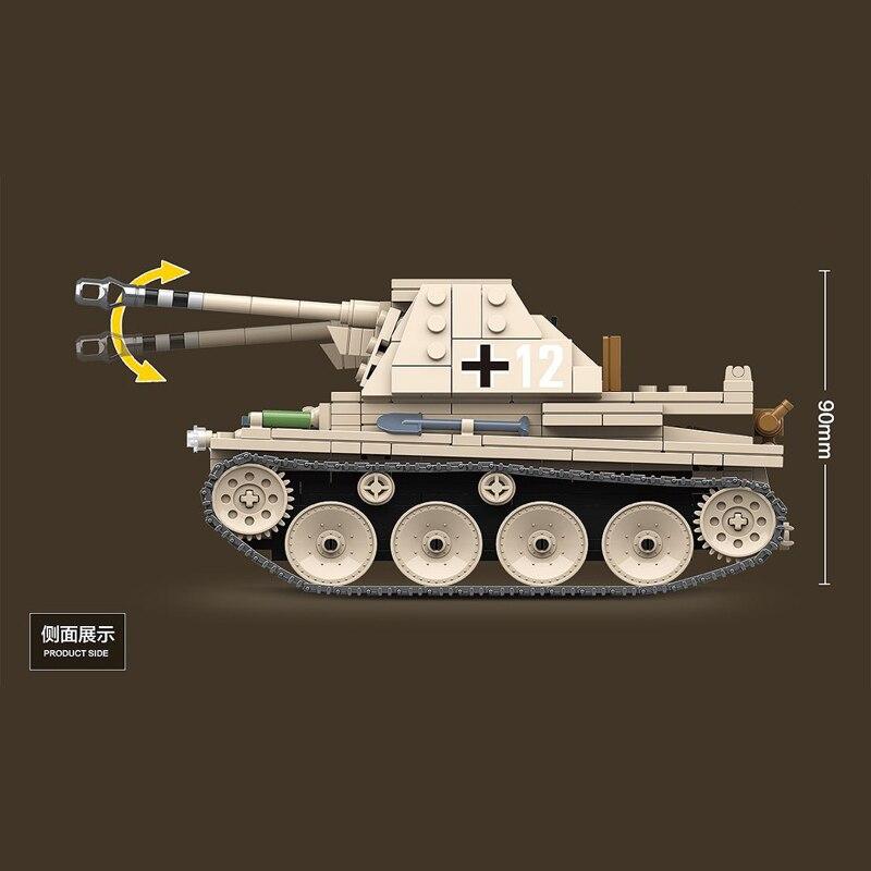 Image 4 - 608PCS German Weasel self anti tank gun Tank Building Blocks Assemble  WW2 Military Tank Army Soldier Weapon parts Bricks ToysBlocks   -