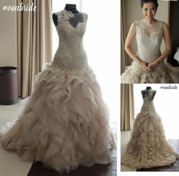 Bridal Gown Casamento Luxury Vestido De Noiva 2018 New Fashionable Romantic Sexy Ruffles Vintage Mother Of The Bride Dresses