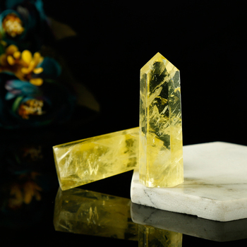 1PC Natural Yellow Crystal Hexagonal Column Transparent Crystal Point Mineral Ornament Healing Wand Home Decor Gift Decoration
