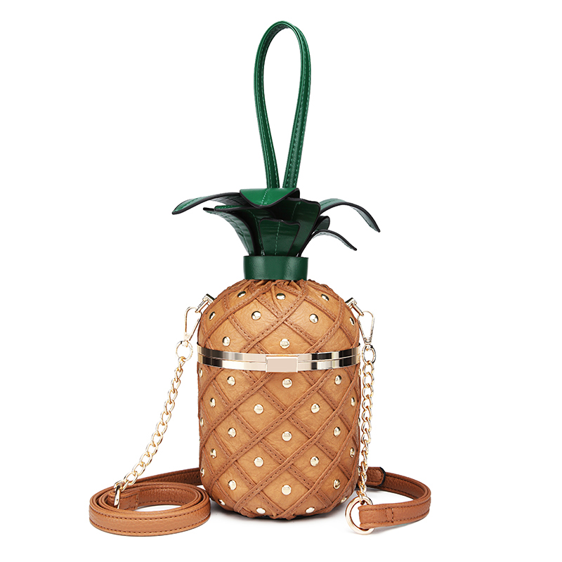 New Female Bag Creative Personality Handbag Fun Odd Shape Pineapple Bag Shoulder Diagonal Female Bag Tide