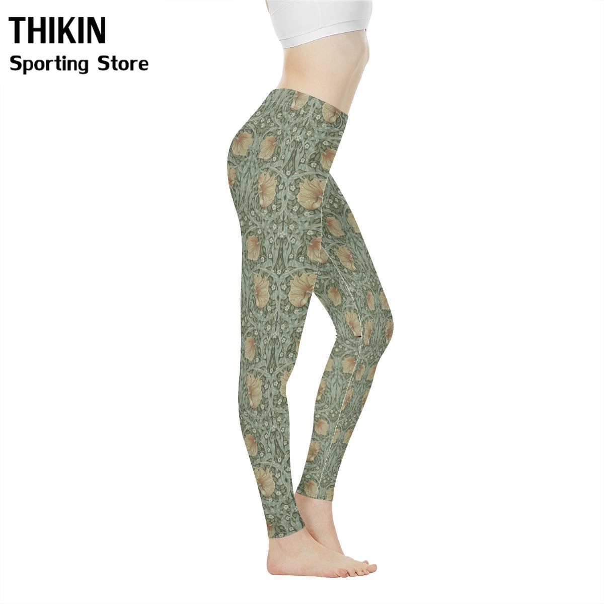 THIKIN Vintage Leggins Sport Women Fitness Legins Pants William Morris Pimpernel Print Seamless Leggings For Sportswear Leginss