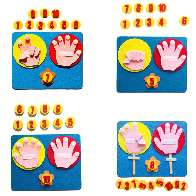 Montessori Mathematical Toy Teaching Aids Hand Shape Intelligence Kindergarten Diy Weave Cloth Early Learning Education Toys