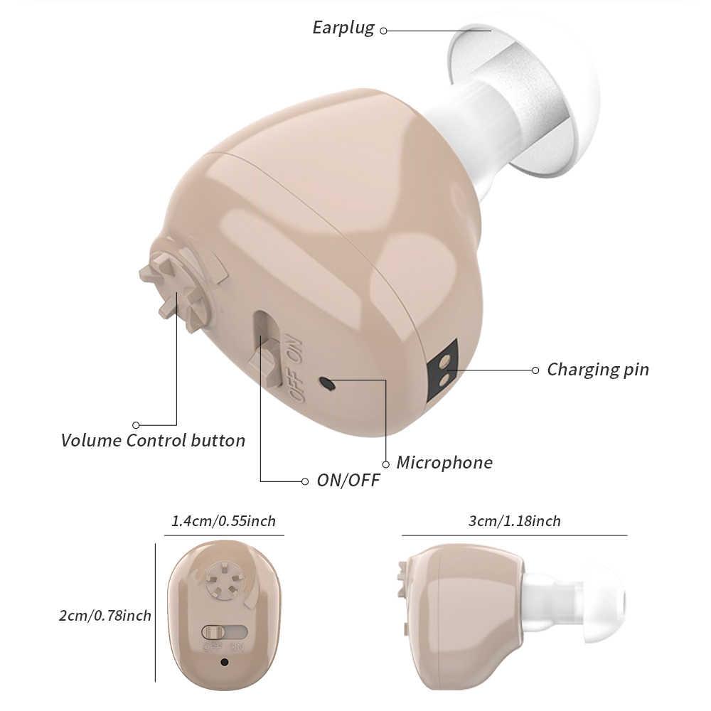 Isi Ulang Tak Terlihat CIC Hearing Aid Mini Alat Bantu Dengar untuk Orang Tua Nirkabel Telinga Alat Bantu Pendengaran Perangkat Drop Pengiriman