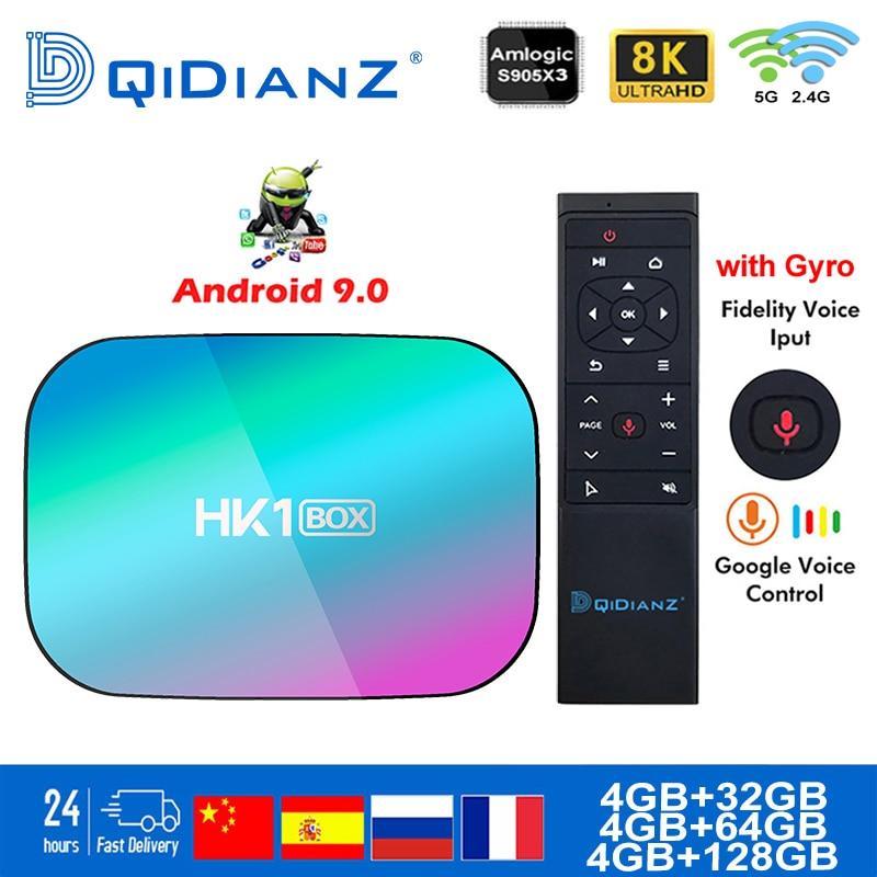 Caixa de tv inteligente hk1box android 9.0 1000m amlogic s905x3 8k wifi duplo bt netflix conjunto rápido caixa superior hk1 x3 pk hk1max h96 a95x