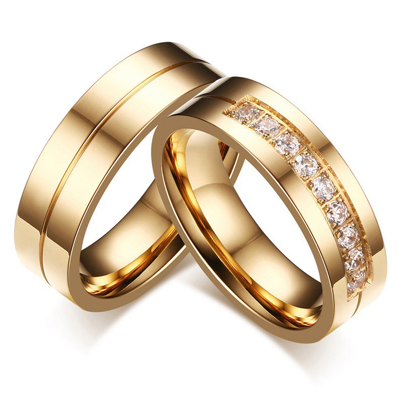 Modyle 2020 New Gold-Color CZ Wedding Rings Lover's Cubic Zirconia Stainless Steel Romantic Ring Jewelry