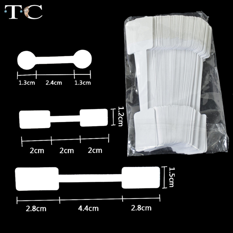 Wholesale Portable Blank Paper Jewelry Price Tag White Dumbell Tag Rectangle Self-Sticker Label Tool Ring Bracelet Jewelry Tags