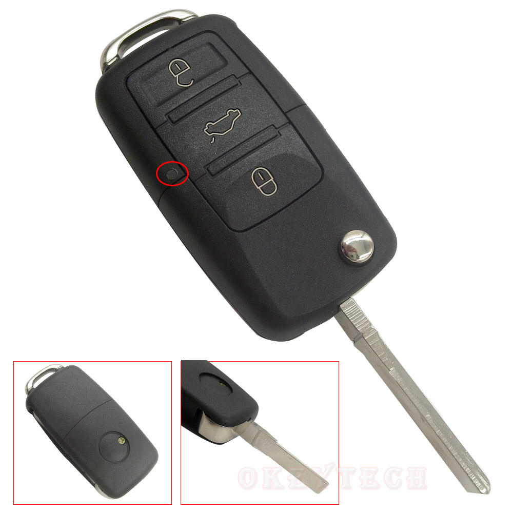 OkeyTech Switchblade funda abatible de llave para VW Volkswagen B5 Golf Polo Passat llave de coche 3 botones plegable funda de llave a distancia Fob
