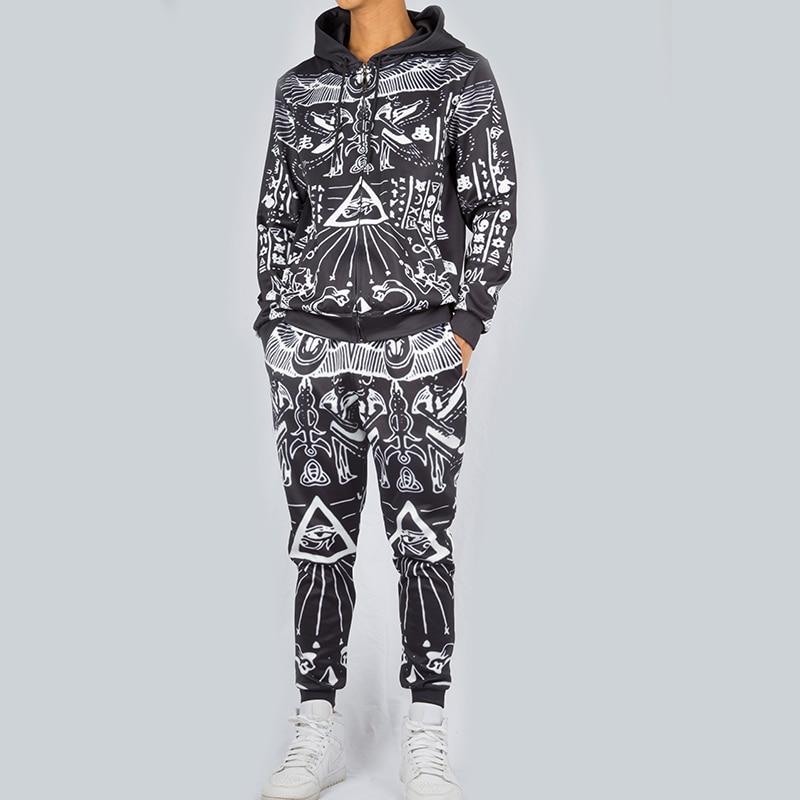 UJWI Hot Sale Retro Pattern Graphic Tracksuit Harajuku Mens Sweatshirt Pants 3d Print Unisex Zip Hoodie Tee Couple Suit Dropship