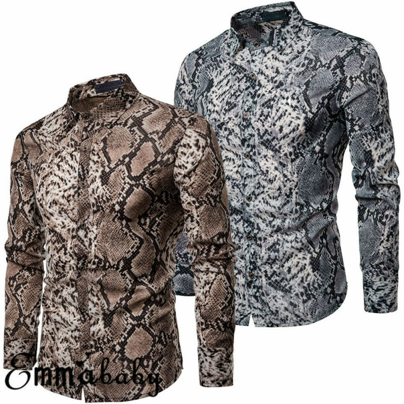 Fashion Men's Casual Snakeskin Print Shirt Long Sleeve Slim Fit Shirts Tops Blouse