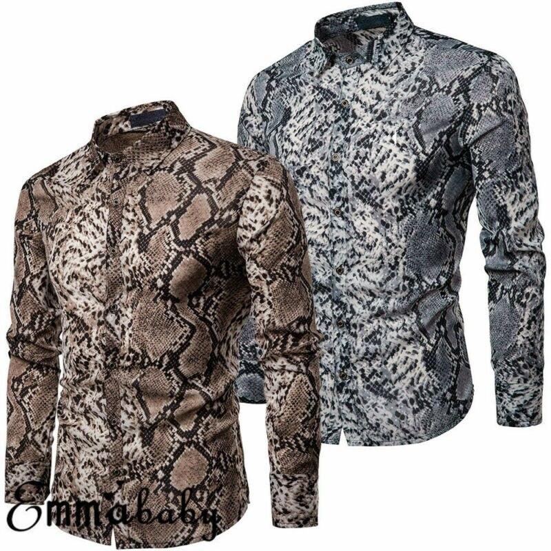 Fashion Men's Casual Snakeskin Print Shirt Long Sleeve Slim Fit Shirts Tops Blouse