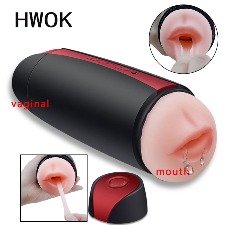 HWOK Double Channel Male Masturbator Cup vibrator <font><b>Artificial</b></font> Vagina <font><b>Mouth</b></font> Pocket Pussy Sucking Cup <font><b>Sex</b></font> <font><b>Toys</b></font> <font><b>for</b></font> Adult <font><b>Men</b></font> image