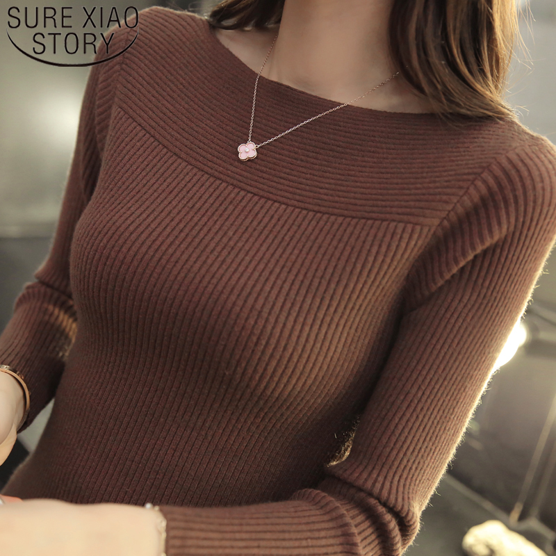 Sueter Mujer Invierno 2019 Ladies Sweater  Office Lady  Slash Neck Pullovers Solid Standard Korean Tops Sweater Knitted 7007 50