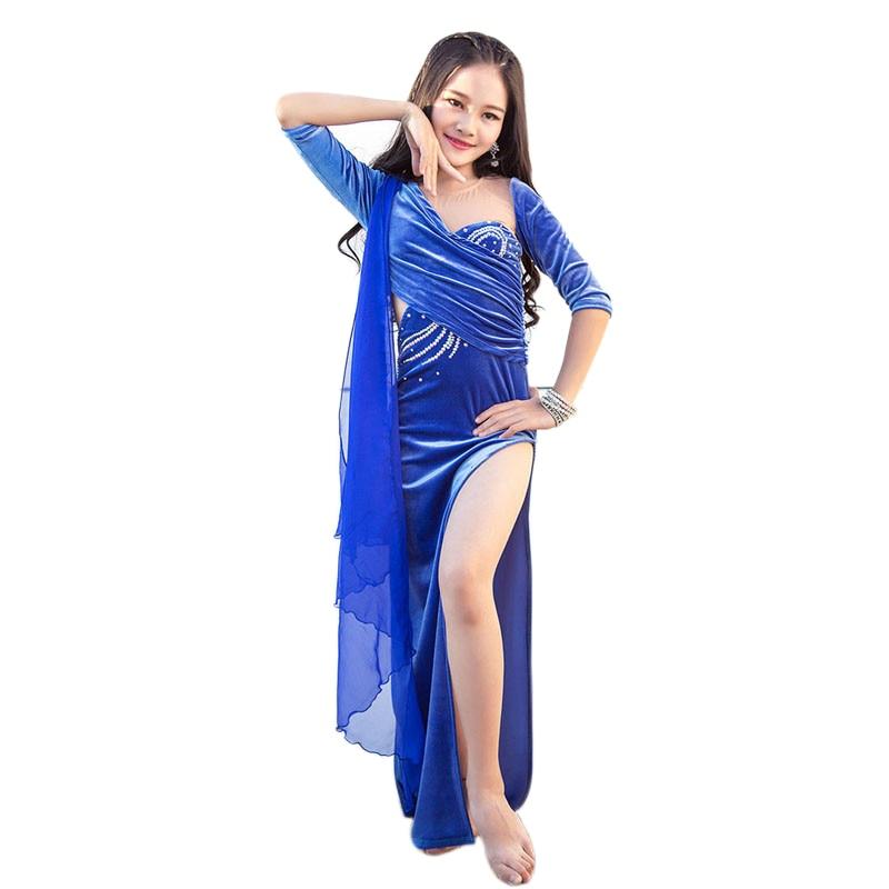 Children Velvet Belly Dance Winter Costume Set Girls Velour Shiny Diamond Dress with Ribbon Oriental Indian Dancing Dancewear