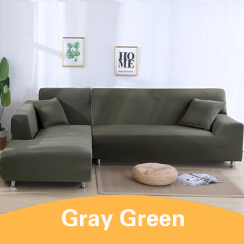 2Pcs Sofa Cover for Living Room Couch Cover Elastic L Shaped Corner Sofas Covers Stretch Chaise Longue Sectional Slipcover - gray green, 3-Seat and 3-Seat
