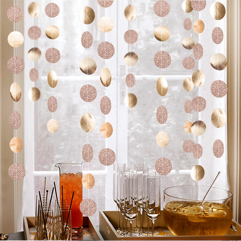 4M 57Dot Champagne Circle Garlands Rose Gold Paper Banner Birthday Party Decoration Supplies Wedding Hanging Garland Baby Shower