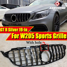 W205 GTS Style Front Grill Grille ABS Silver WithCamera For MercedesMB C Class Look Grills C200 C250 C300 C350 Without Sign 19+