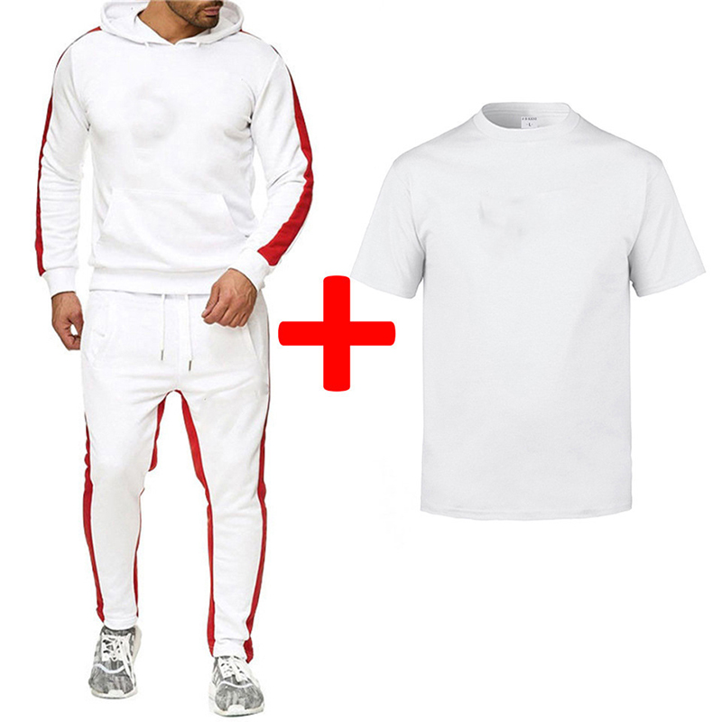 OIMG Sport Leisure Sweatershirt +Sweatpant +T-shirts 3Piece Sets Fleece Hoodie Men's Tracksuit Print DIY Custom Logo Text Image