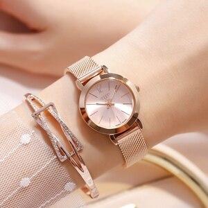 Image 1 - Frauen Rose Gold Stahl Armband Uhr Damen Silber Mesh Band Quarz Uhren Mädchen Mode Lässig Einfache Uhr Teen Zeit Stunde neue